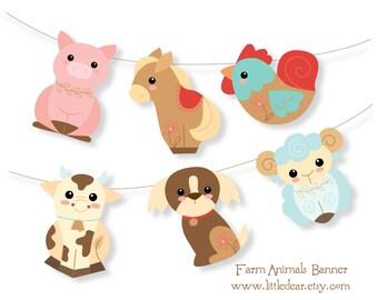 Printable Farm Animals Banner PDF digital download Scrapbook clipart Birthday Party Decorations