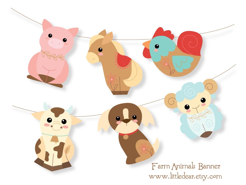 Printable Farm Animals Banner PDF digital download Scrapbook