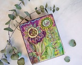 floral, blooms, sunflower, garden, spring, wooden art block, rustic, distressed, decor, country, hippie, cottage life, purple, green