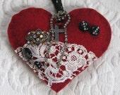 love token  . felted heart . heart decoration . fiber art heart . recycled sweater heart . gypsy heart . heart with cross