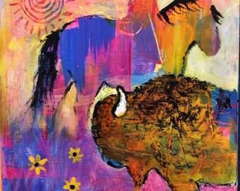 Buffalo Horse Original Painting by Caren Goodrich