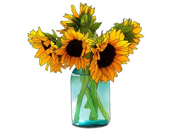 Sunflowers in a Blue Mason Jar Print