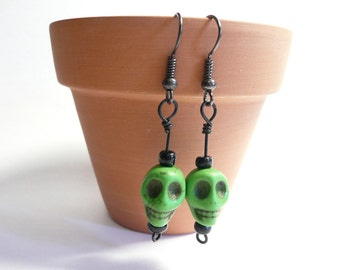 Petite Skull Earrings, Boho Chic Jewelry, Apple Green and Black, Dyed Howlite Beads, Dia de los Muertos, Day of the Dead