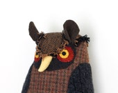 Reserved for Alexandra- Brown Wool Owl doll pillow plush softie