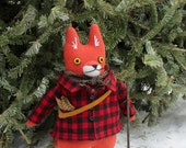 Fox doll- the Wanderer wool doll animal plush softie boy