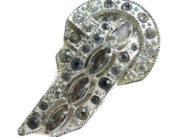 Vintage Art Deco 1930's Pot metal and Rhinestone Fur and/or Shoe Clip
