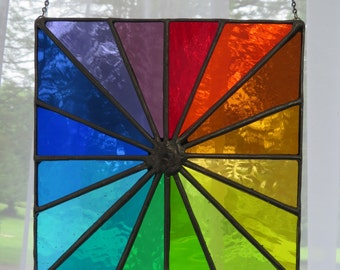 Spectrum Square! Beautiful Multicoloured Rainbow Stained Glass Suncatcher