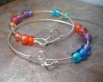 Sterling silver heart bracelet (1) veiled glass rainbow