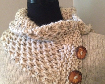 Oatmeal Tweed Knitted Cowl, Chunky Cable Neck Warmer with 3 Reclaimed Wood Buttons