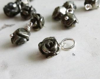 Add a Charm - Pyrite 6-7mm Rose Gemstone Accent