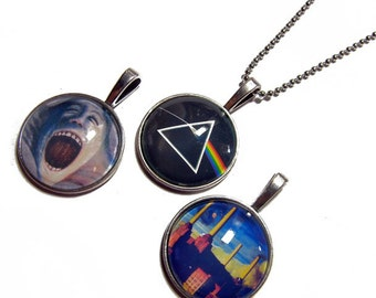 Lot of 3 - Pink Floyd Pendants -  1 Inch Circle Glass Photo Pendant with 24 inch Ball Chain Necklace