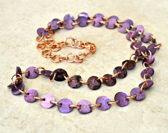 Long Shell Link Necklace / Purple, Copper / 27 inches