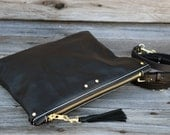 Black Leather Zipper Clutch / Cross Body Bag / Fold Over Clutch  / Tablet Sleeve / Ipad Case / Feral Empire / Small Purse