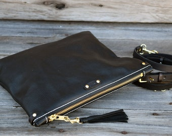 Black Leather Small Cross Body Bag / Fold Over Clutch  / Zipper Clutch /Tablet  Sleeve / Feral Empire / Small Purse