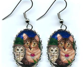 Cat & Owl Earrings Abyssinian Cat Saw Whet Owls Earrings Fantasy Cat Art Cameo Earrings 25x18mm Gift for Cat Lovers Jewelry