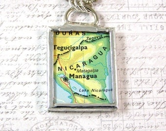Nicaragua Map Double Sided Pendant Necklace