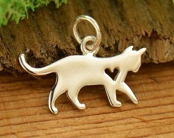 Sterling silver kitty cat pet charm