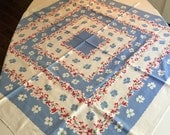 Vintage Table Linen - Callaway Brand Robins Egg Blue and Red Medallion Style Dogwood Floral Table Linen - Vibrant Vintage Colors
