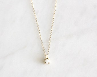 14k gold white opal necklace, natural opal, 14k gold, gift for her