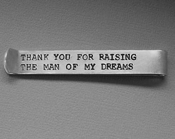 Hidden Message Tie Clip - Father of the Bride and Groom - Hand Stamped Tie Bar - Custom Groomsmen Gift - Dad or Grandpa - Wedding Gift