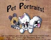 One Large Custom KiniArt Pet Portrait Art Drawing