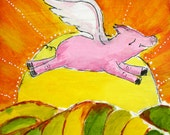 """Set of Two 20""""x20"""" Flying Pig Prints"""