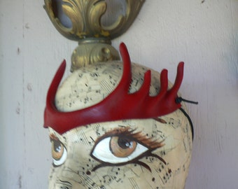 Dark Red Pixie Points, small head piece, hand painted leather costume accessory