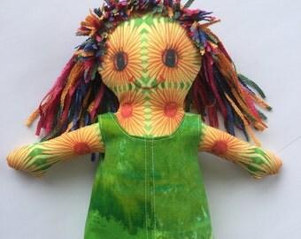 Daisy Sunshine Hippie Original Art Love doll Ragdoll Flower Child Fabric Fiber Boho Funky Groovy International Girl Boy Transgender