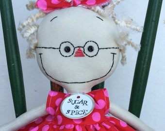 handmade raggedy cloth rag doll with Glasses in red and pink polka dots -- blond hair