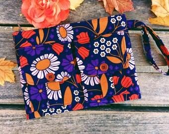 Navy Floral Corduroy Wristlet Wallet, Blue Wallet Wristlet, Fabric Wallet, iPhone Wristlet, Zipper Wallet, Wristlet Purse, Floral Wallet