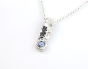Meteorite, Moissanite, and Sapphire Pendant #11 - ready to ship