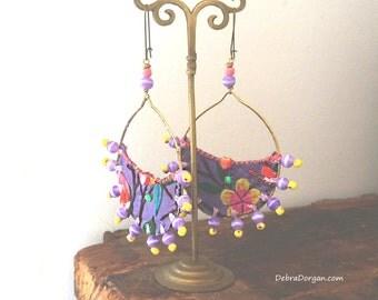 Lavender Vintage Embroidery Earrings, Boho Earrings, Dangle Earrings, Tribal, Antique Embroidery, Large Earrings, Hoops, Beaded