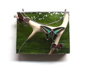 Stained Glass Jewelry Box with Deer Antler and Real Butterflies - Bluebottle butterfly, Peacock butterfly and 88 butterfly