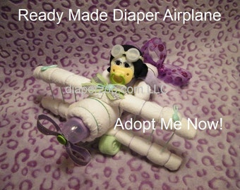 Ready Made Diaper DIAPER AIRPLANE & PILOT for new baby. Gender neutral Diaper Cake Centerpiece. Baby shower