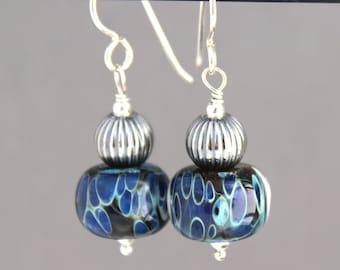 Lampwork Earrings, Glass Earrings, Sterling Silver Earrings, Dangle Earrings, Dark Blue Earrings