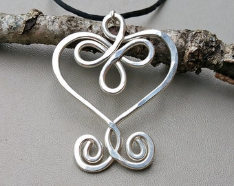 Big Celtic Heart Necklace Sterling Silver, Large Heart Pendant, Gift for Her Big Heart Jewelry, Women Mother, Wife, Silver Heart Necklace
