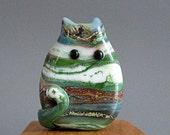 Cat Bead Handmade Lampwork Focal - Reese FatCat