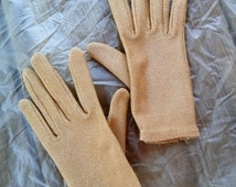 Vintage 1950s Gold Lurex Gloves All Sz Up to US7.5 2016212