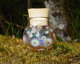 Caramel Dots glass bottle stash jar