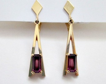 Vintage Clip On Earrings - 1975 Avon Faux Amethyst Plaza IV Collection