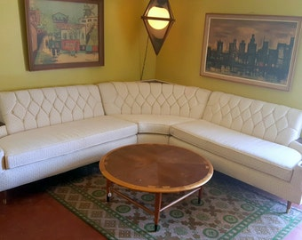 Mid Century Modern White Speckled Sectional Sofa with attached end tables