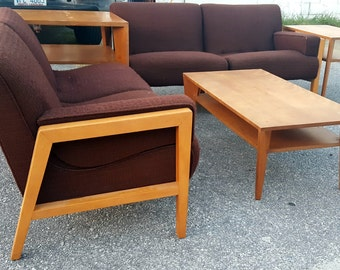 Mid Century Modern Brown Sectional Sofas with 4 Tables By Conant Ball Russell Wright