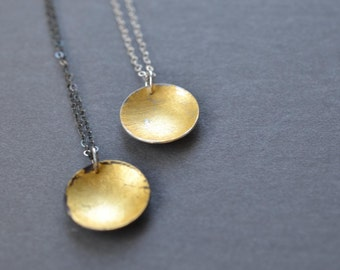 Silver & Gold Disc Necklace- silver and gold circle pendant