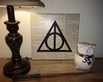 Harry Potter Silhouette Painting - Deathly Hallows Symbol