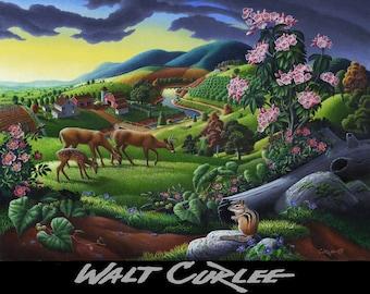Appalachian Wildlife Art, Deer Chipmunk Meadow Country Landscape Giclee Canvas Print, Rolling Hills Landscape, Americana Folk Art