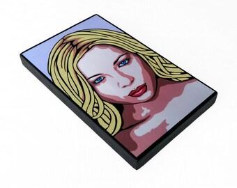Portrait Woman Print On Wood Panel 8x5 Modern Girl Illustration Mixed Media Mounted Small Wall Art Print