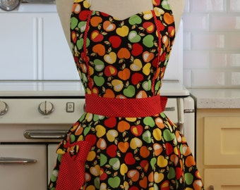 The MAGGIE Vintage Inspired Colorful Apples on Black Full Apron
