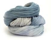 Sparkly lace yarn, hand dyed laceweight merino silk sparkle, Soft Denim Perran Yarns, variegated yarn skein, uk seller, snorkel blue grey