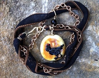 Raven Necklace, Raven Bead, Hand-dyed Silk Ribbon, Brass Chain Necklace, Lampworked glass necklace