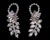 White rhinestone climber earrings. Brilliant sparkle High end unsigned beauties, Wedding, bridal, prom